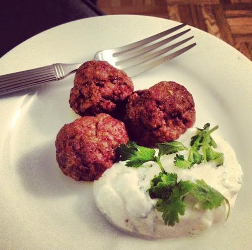 Kofte (Persian lamb meatballs) with lemon coriander yogurt dipping ...